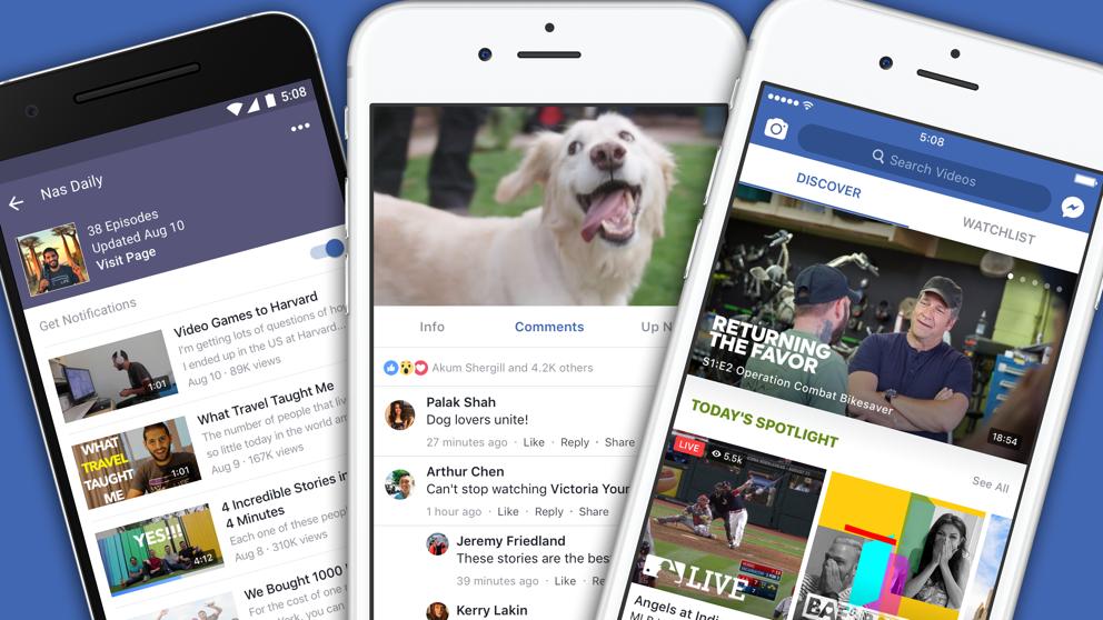 Facebook crea Watch, su propia plataforma de vídeo que competirá con Youtube