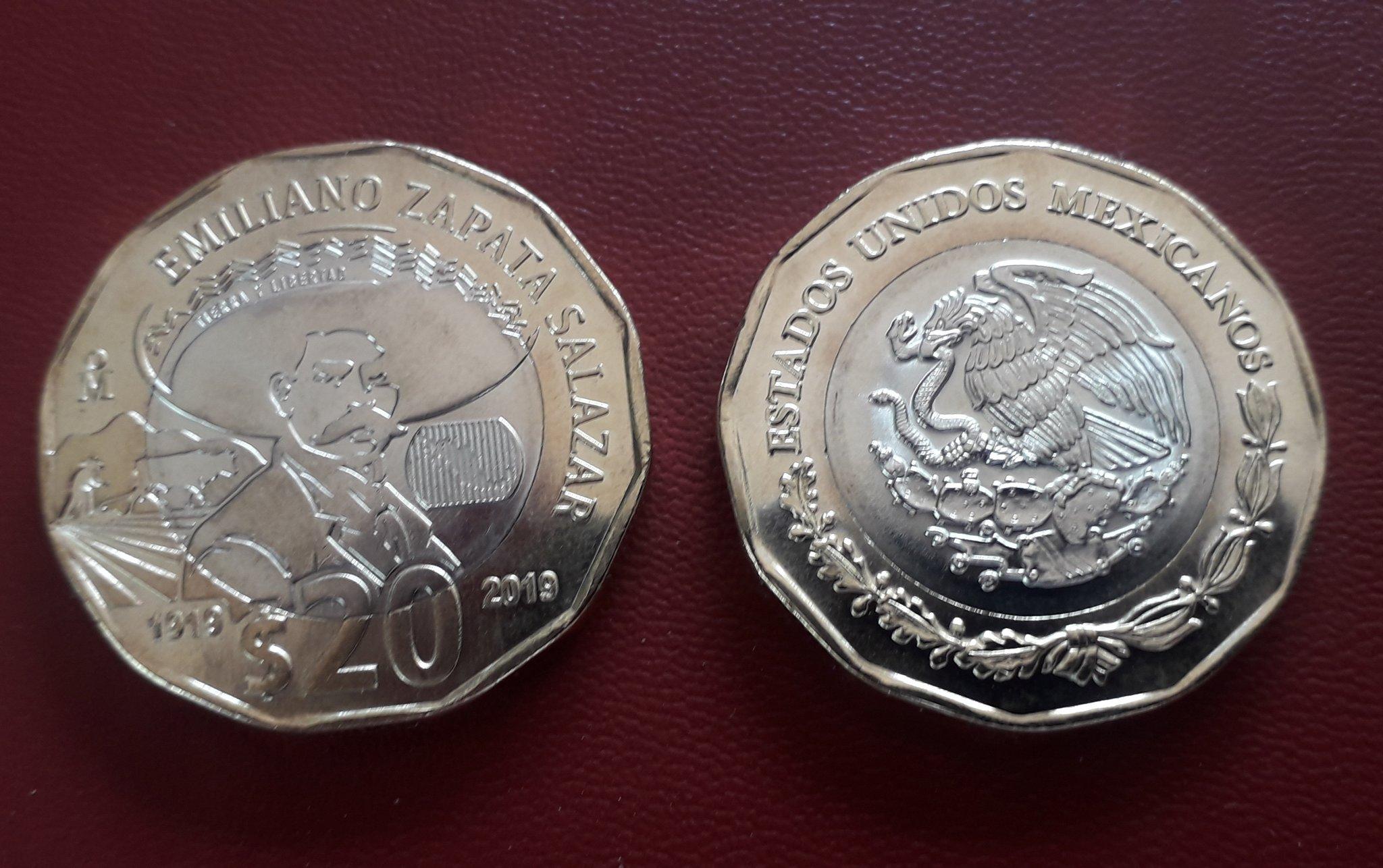 Lanzan moneda de $20 conmemorativa del Centenario de la muerte de Emiliano Zapata.
